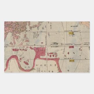 Akitaya Naniwa's World Map. Japanese wood-block Rectangular Sticker