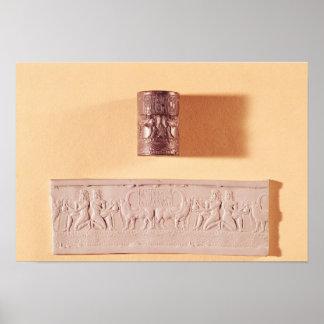 Akkadian cylinder seal and impression poster