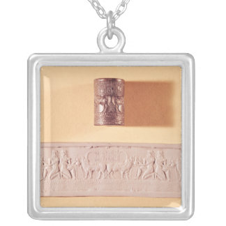 Akkadian cylinder seal and impression silver plated necklace