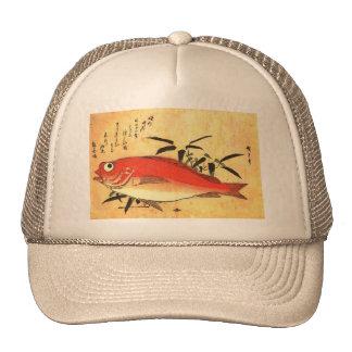 Akodai - Hiroshige's Colorful Japanese Fish Print Hats
