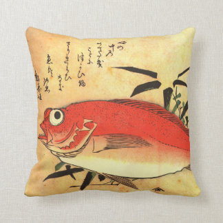 Akodai - Hiroshige's Colorful Japanese Fish Print Throw Pillow
