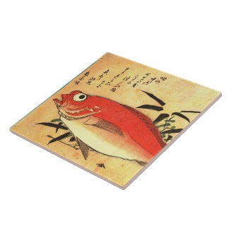 Akodai - Hiroshige's Colorful Japanese Fish Print Tile