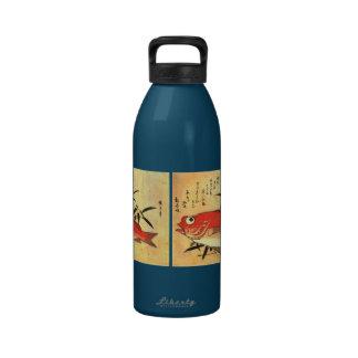 Akodai - Hiroshige's Colorful Japanese Fish Print Reusable Water Bottle