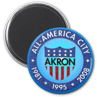 Akron all America City Magnet 2 Inch Round Magnet