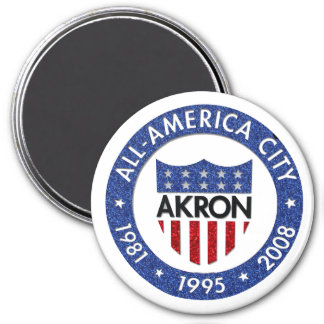 Akron all America City Magnet 3 Inch Round Magnet