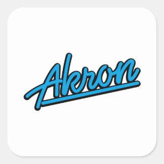 Akron in cyan square sticker