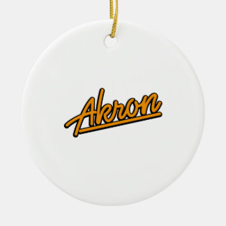 Akron in orange christmas tree ornament