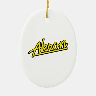 Akron in yellow christmas ornaments