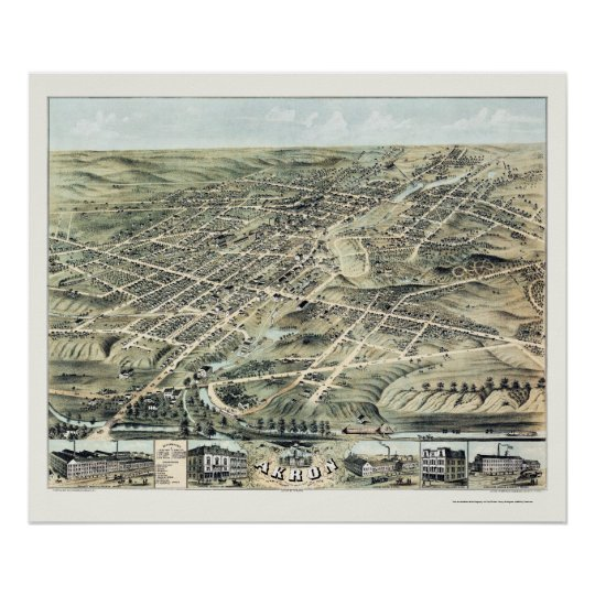 Akron, OH Panoramic Map - 1870 Poster