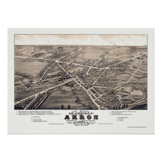 Akron, OH Panoramic Map - 1882 Posters