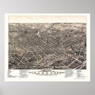 Akron, OH Panoramic Map - 1882 Print