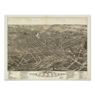 Akron Ohio 1882 Antique Panoramic Map Poster