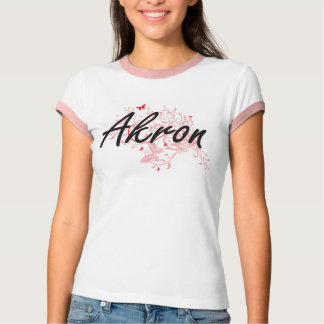 Akron Ohio City Artistic design with butterflies T-Shirt
