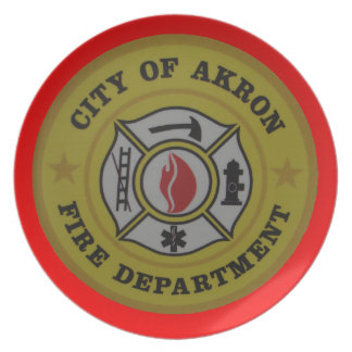 Akron Ohio Fire Department Plate. Melamine Plate