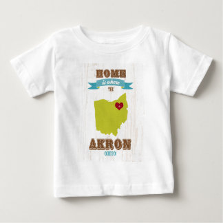 Akron, Ohio Map – Home Is Where The Heart Is Baby T-Shirt