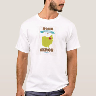 Akron, Ohio Map – Home Is Where The Heart Is T-Shirt