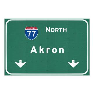 Akron Ohio oh Interstate Highway Freeway : Photo Print