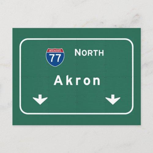Akron Ohio oh Interstate Highway Freeway Postcard