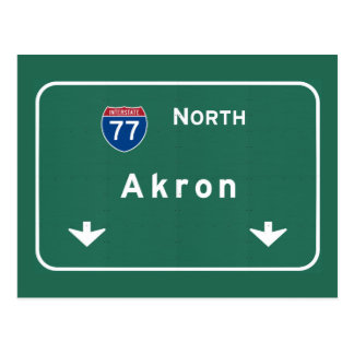 Akron Ohio oh Interstate Highway Freeway : Postcard