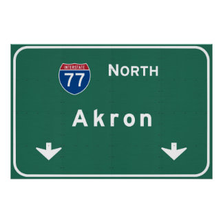 Akron Ohio oh Interstate Highway Freeway : Poster