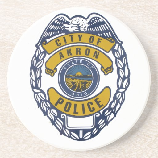 Akron Ohio Police Department Sticker. Drink Coaster