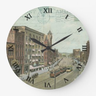 Akron Ohio Post Card Clock - Main St 1909