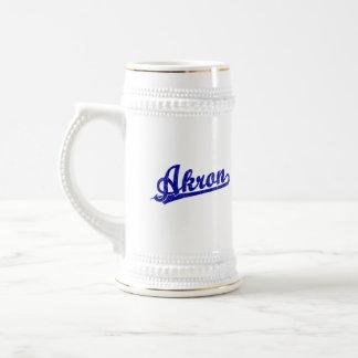 Akron  script logo in blue beer stein