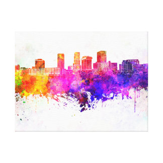 Akron skyline in watercolor background impresión en lienzo