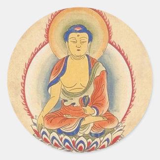 Akshobhya Buda Etiqueta Redonda