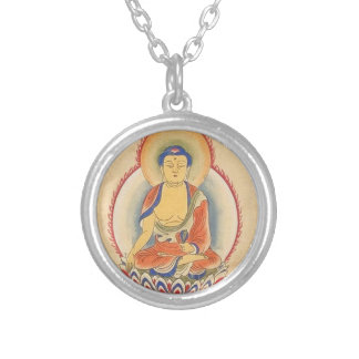 Akshobhya Buddha Silver Plated Necklace