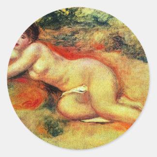 Akt de Pierre-Auguste Renoir (la mejor calidad) Pegatina Redonda