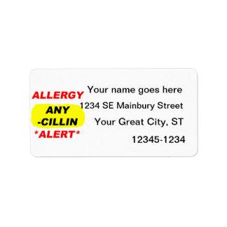 Al alerta del diseño de la alergia de los deriviti etiqueta de dirección