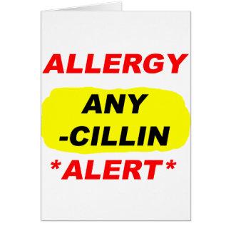 Al alerta del diseño de la alergia de los tarjeta pequeña