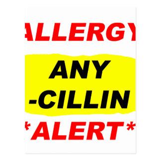 Al alerta del diseño de la alergia de los postal