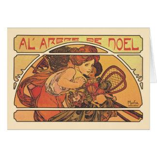 Al' Arbre De Noel- Alfonso Mucha Tarjetas