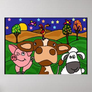 AL- Barnyard Animals Folk Art Poster
