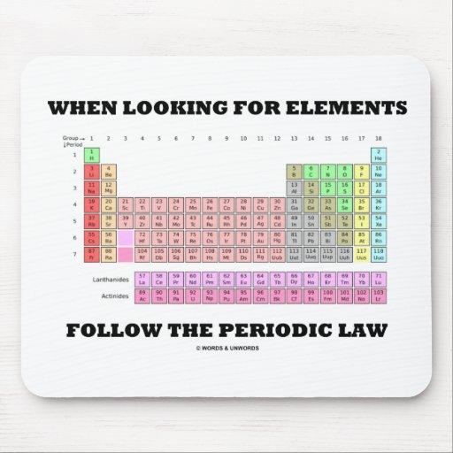 Al buscar elementos siga la ley periódica alfombrillas de ratones