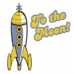 al cohete de espacio retro de la luna esculturas fotográficas