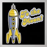 al cohete de espacio retro de la luna impresiones