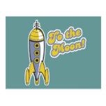 al cohete de espacio retro de la luna postal