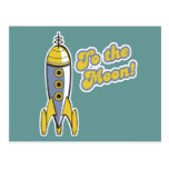 al cohete de espacio retro de la luna tarjeta postal