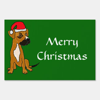 AL-Cute Puppy Merry Christmas Yeard Sign