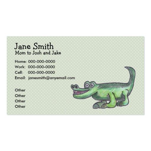 AL-E-GATOR Cartoon Contact Card Business Card Templates
