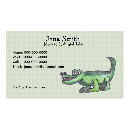 AL-E-GATOR Cartoon Contact Card Business Card Template