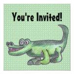 AL-E-GATOR Cartoon 5.25x5.25 Square Paper Invitation Card