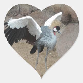 Al este grúa coronada africano calcomania de corazon