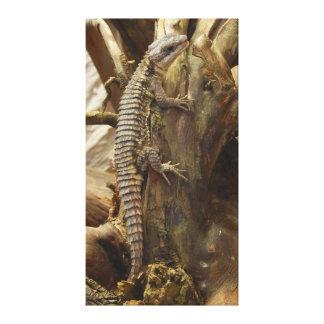 Al este lagarto rodeado tropical Espinoso-Atado af Impresión En Lona Estirada