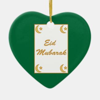 Al Fitr de Eid Mubarak Eid Adorno Navideño De Cerámica En Forma De Corazón