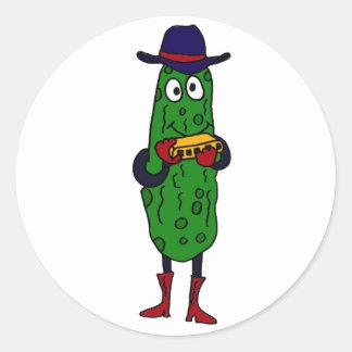 AL- Funny Pickle Playing Harmonica Cartoon Classic Round Sticker