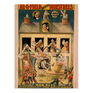 Al.G.Field Minstrels, 'The Open Door' Retro Theate Postcard